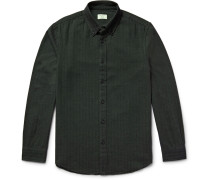 Slim-fit Button-down Collar Herringbone Cotton-flannel Shirt