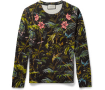 Appliquéd Tropical-print Loopback Cotton-jersey Sweatshirt