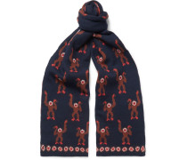 Monkey Jacquard-knit Wool Scarf