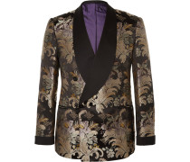 Slim-fit Double-breasted Silk-jacquard Tuxedo Jacket