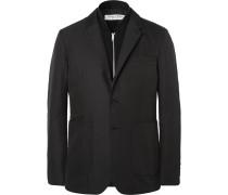 London Black Slim-fit Shell Blazer With Detachable Wool Gilet