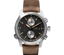 Alt1-zt/51 Stainless Steel And Leather Chronograph Watch