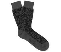 Leopard Jacquard-knit Cotton-blend Socks