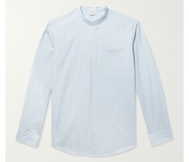 Oliver Grandad-Collar Striped Linen Shirt