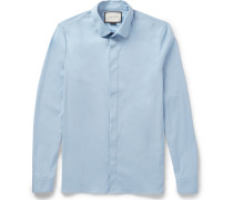 Slim-fit Penny-collar Cotton-blend Poplin Shirt