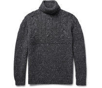 Mélange Cable-knit Wool-blend Rollneck Sweater