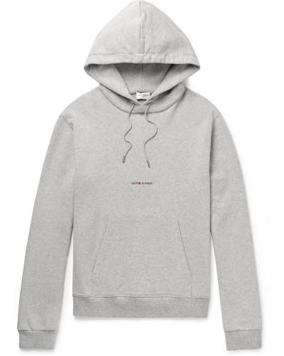 Logo-print Mélange Cotton-blend Jersey Hoodie - Gray