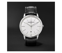 Patrimony Automatic 40mm 18-Karat White Gold and Alligator Watch, Ref. No. 85180/000G-9230