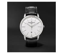 Patrimony Automatic 40mm 18-Karat White Gold and Alligator Watch, Ref. No. 85180/000G-9230