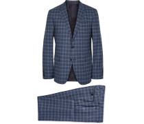 Blue Slim-fit Checked Wool Suit