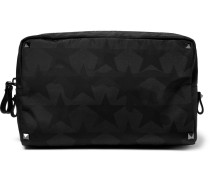 Leather-trimmed Star-print Shell Wash Bag