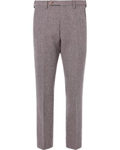 Birdseye Wool-blend Trousers - Burgundy