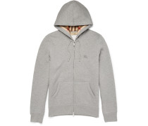 Slim-fit Cotton-blend Jersey Zip-up Hoodie