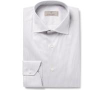 Grey Cutaway-collar Striped Cotton Shirt