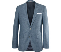 Blue Hutsons Slim-fit Slub Virgin Wool And Silk-blend Blazer
