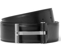 4cm Black Leather Belt
