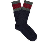 Stripe-trimmed Cable-knit Stretch Wool-blend Socks