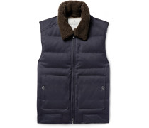 Shearling-trimmed Quilted Twill Down Gilet