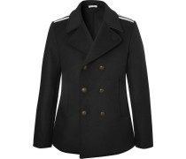 Double-breasted Grosgrain-trimmed Wool-blend Coat