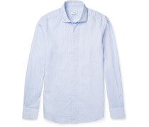 Micro-checked Linen And Cotton-blend Shirt