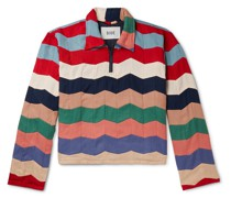 Striped Quilted Twill Half-Zip Polo Shirt