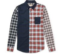 Button-down Collar Patchwork Cotton Shirt