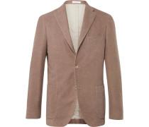 Beige Slim-fit Cotton-moleskin Blazer
