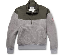 Embroidered Loopback Jersey And Fleece Half-zip Sweatshirt