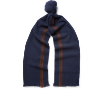 Suede-trimmed Cashmere Scarf