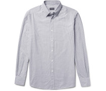 Slim-fit Button-down Collar Micro-checked Cotton Shirt