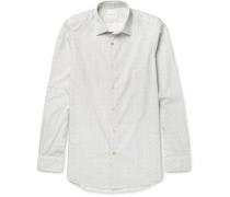 Slim-fit Music Note-print Cotton Shirt