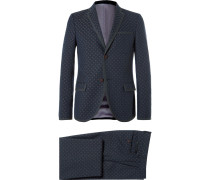 Blue Slim-fit Wool And Cotton-blend Jacquard Suit
