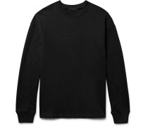 Embroidered Distressed Loopback Cotton-jersey Sweatshirt