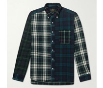 Button-Down Collar Panelled Checked Cotton-Flannel Shirt