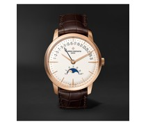 Patrimony Moon Phase and Retrograde Date Automatic 42.5mm 18 Karat Pink Gold and Alligator Watch, Ref. No. 4010U/000R-B329 X40R1503