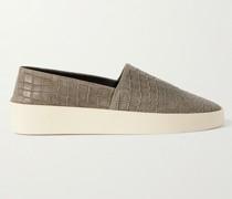 Croc-Effect Leather Espadrilles