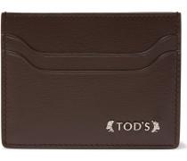 Embellished Grained-leather Card Holder
