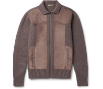 Suede-panelled Wool Bomber Jacket