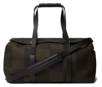 Leather-Trimmed Checked Canvas-Jacquard Holdall
