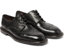 Studded Distressed Leather Wingtip Brogues
