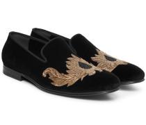 Beaded Velvet Slippers