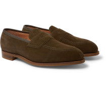 Piccadilly Leather-Trimmed Suede Penny Loafers