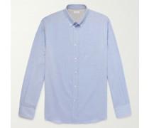 Button-Down Collar Herringbone Cotton Shirt