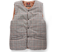 Checked Padded Cotton-Twill and Shell Gilet