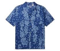 Camp-Collar Floral-Print Twill Shirt
