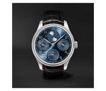 Portugieser Perpetual Calendar Automatic 44.2mm 18-Karat White Gold and Alligator Watch, Ref. No. IW503401