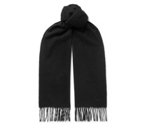 Logo-Embroidered Fringed Cashmere Scarf