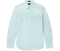 Slim-fit Button-down Collar Pinstriped Linen And Cotton-blend Shirt