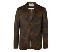 Unstructured Camouflage-Print Cotton Blazer