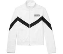Striped Cotton-jersey Zip-up Track Jacket